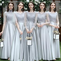 Traje gris medio online-Gris dama de traje de boda 2019 última noche de invierno temperamento banquete de hadas longitud media muestra mujer delgada