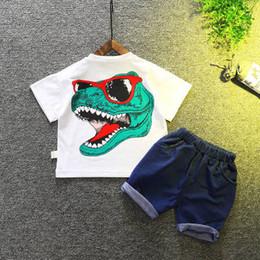 Deutschland todder Jungenkarton Dinosauriersommerkleidung für Babykleidung der Jungen 2pcs scherzt Kleidung Säuglingsjungenkinder tragen neuen Sommer 1-2-3-4 Jahre Baby shor supplier 3t dinosaur shirt Versorgung