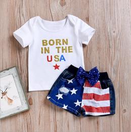 Çocuklar giysi tasarımcısı kızlar mektup üstleri amerikan bayrağı şort 2 adet setleri bağımsızlık günü kız kıyafetler 7 temmuz bebek clothing yw3277 cheap baby flag set nereden bebek bayrağı seti tedarikçiler