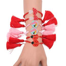 Рисовые раковины онлайн-Miyuki Red Cherry Apple Shell Weave Lady Bracelet DB Antique Rice  Handmade Woven Fruit Jewelry