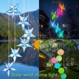 Criativo Mudando de Cor Solar LEVOU Hummingbird Wind Chimes Lâmpada de Luz À Prova D 'Água Sinos de Vento Para Casa Jardim Pendurado Decoração Do Partido de
