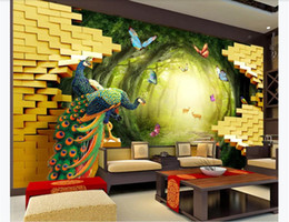 papeles de pavo real Rebajas customized 3d photo wallpaper murals wall paper Golden Garden Peacock Rich 3D Living Room TV Background Wall paper for walls 3d