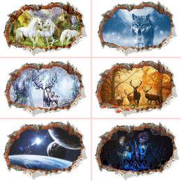 Vinilos de pared lobos online-3d agujero de la pared rota pegatinas de pared para oficina sala de estar dormitorio decoración del hogar animal bricolaje ciervos lobo paisaje arte mural calcomanías