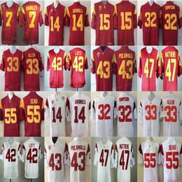 Camisetas de troy polamalu online-USC Trojans Jersey Hombres 33 Marco Allen 42 Ronnie Lott 55 Seau 43 Troy Polamalu 47 Clay Matthews NCAA Football jerseys Colegio PAC Rojo