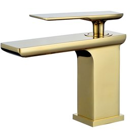 square sinks Promo Codes - Free ship brushed Gold Solid brass material Bathroom Sink square Faucet mixer tap single Hole deck mounted