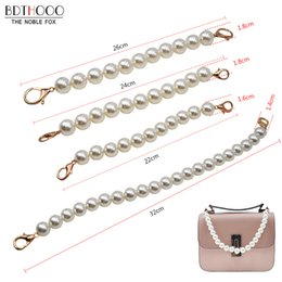 pearl handles Coupons - 10pcs  lot Women Short Bag Straps Pearl Beaded 22cm 30cm Short Shoulder Belt Purse Handle Diy Chain Bag Accessories