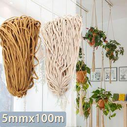 KIWARM 5mmx100m algodão trançado corda torcida do cabo corda tecida de Cordas Home Textile acessórios artesanais presente DIY Craft Macrame de