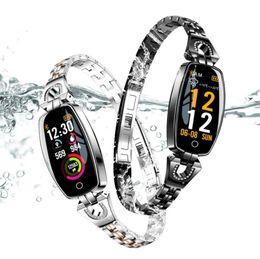 2019 smart watches h8 Neue kreative mode damen H8 herzfrequenz schrittzähler fitness überwachung 0,96 zoll farbbildschirm IP67 wasserdicht sport smart watch armband günstig smart watches h8