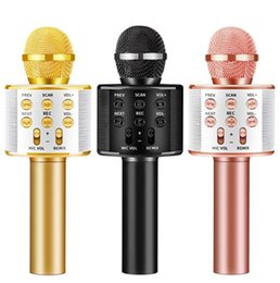 Bluetooth-aufnahme-mikrofon online-New WS858 Microphone Wireless Bluetooth Karaoke WS-858 Microphone USB KTV Player Mobile Phone Player Mic Speaker Record Music