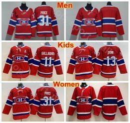 2019 camisetas de hockey rojo en blanco Hombres Señora Niños Montreal Canadiens 13 Juventud Carey Price Jerseys Hombre Mujer 13 Max Domi 11 Brendan Gallagher Ice Hockey Jerseyss en blanco Rojo rebajas camisetas de hockey rojo en blanco