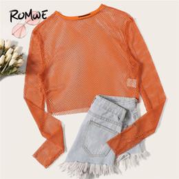 Arancione manica lunga O Neck Crop a rete Camicette Donna Summer Beach Style Sheer Hollow Out Camicetta corta Moda top in tinta unita da