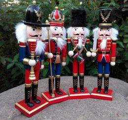 mini alberi di natale azionati da batteria Sconti 30CM Natale in legno Schiaccianoci Soldati Burattino Zakka Creativo Decorazione del desktop Ornamenti di Natale di grandi dimensioni Disegno Noci Soldato