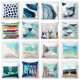 Capas de almofada abstratas on-line-Eco-Friendly criativa Blue Beach / Forest abstratos capas de almofada 45x45cm Home Office Sofá cintura Pillow Covers poliéster fronha