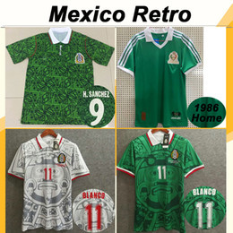 Mexiko fußball uniformen online-1994 Mexiko # 9 H. SANCHEZ Herren-Fußballjerseys 1999 Nationalmannschaft Retro # 11 BLANCO # 15 HERNANDEZ Home Away Fußball-Hemden 1986 Uniformen