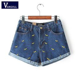 Fiori di banana online-Vangull moda donna coreano estate fiore di banana ricami di cotone di curling plus size casual femminile in vita pantaloncini di jeans