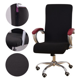 Asientos de oficina online-Cubierta de silla de oficina de tela jacquard universal Sillón elástico de computadora Fundas de asiento Asiento de silla de brazo Levantamiento giratorio elástico