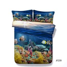 Deutschland 3D Sea Turtle Bettwäsche Hawaii 1 Bettbezug 2 Kissen Shams Ozean Tiere Fische Bett Set Schildkröte Schwimmen In Blue Sea Turtle Bettdecke supplier 3d ocean bedding set Versorgung