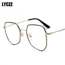 56c6f0934f0 LYCZZ Unisex Optics Glasses Frame women Men Myopia Eyeglasses Frames With  Anti-blue light Lens Prescription Polygon Spectacles