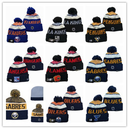 Calgary Flames Edmonton Oilers Winter Beanie Hats Ice Hockey Knit Beanies  Hat cap Embroidered NEW JERSEY Buffalo Sabres Stitched Hats One Si