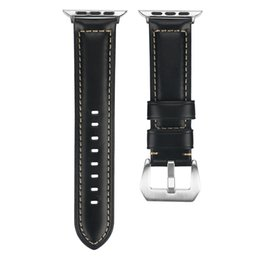 Натуральная телячья кожа сумасшедшая лошадь ремешок для часов 38 / 40mm 42 / 44mm iWatch Apple Watch Series 1 2 3 4 Vintage ремешок на запястье коричневый черный от Поставщики vintage