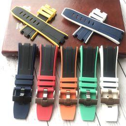 мягкий ремешок для часов 28 мм двухцветный резиновый Силиконовый водонепроницаемый нержавеющая пряжка для AP ремешок браслет для Audemars и Piguet от Поставщики натуральная краска