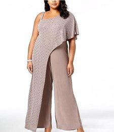 sexy mother bride dresses plus size Promo Codes - 2019 Modern Mother Of The Bride Dresses One Shoulder Sequins Drape Jumpsuits Evening Gowns Chiffon Pants Plus Size Prom Dress