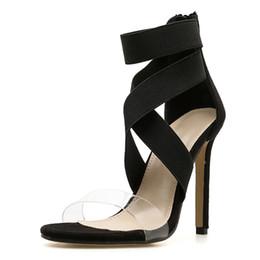 Canada sandales spartiates élastiques pour femmes, chaussures à talons hauts avec bride à la cheville, chaussures de soirée d'été pour femmes, noires et abricots LX-063 Offre