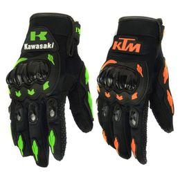 2019 зеленые перчатки KTM Kawasaki Fashion New Full Finger Перчатки для мотоциклистов Мотокросс Luvas Guantes Зеленый Оранжевый Мото Защитные перчатки для мужчин дешево зеленые перчатки