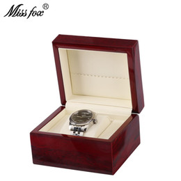 подставка для краски Скидка MISSFOX Single Watch Box High-Grade Wooden Spray Paint Watch Box Wood Paint Inside PU Leather Stand For Hours