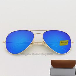 Óculos de sol azul on-line-Alta qualidade Txrppr Azul Colorido lente piloto Moda Óculos De Sol Para Homens e Mulheres Marca designer Esporte óculos de Sol 58mm vêm caixa