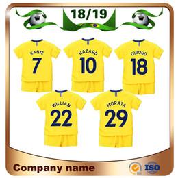 2019 ternos amarelos 2019 Crianças Kit # 10 PERIGO Camisa de Futebol 18/19 Away amarelo KANTE GIROUD WILLIAN Crianças terno Personalizado camisa de futebol Camisa com calções ternos amarelos barato