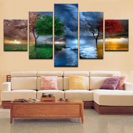 Moderne stagioni d'arte online-Quadro moderno su tela per soggiorno Stagione Alberi Paesaggio Decorazione domestica HD Stampato Wall Art Pictures Framework
