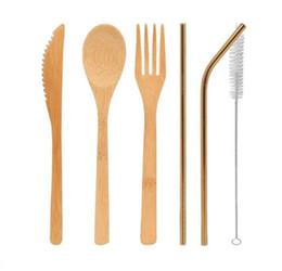 DHL Talheres De Bambu Conjunto de 5 Pçs / set e 3 pçs / set colher Garfo faca escova de palha Talheres Louça Conjunto casa de Jantar Cozinha Bar Cozinhar Ferramenta de Fornecedores de ferramentas de cozinha para crianças