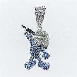 Presentes da arma para homens on-line-Luxo Iced Out Zircon Figura Dos Desenhos Animados Com Arma Pingentes Colar de Bling Bling Hip Hop Jóias Para O Presente dos homens