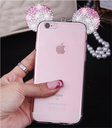 Orejas de la caja del teléfono online-YunRT Cute Diamond 3D Mickey Ears Ear Case para iPhone 8 casos suave cubierta de teléfono TPU transparente para iPhone X 6 6 s Plus 7 Plus