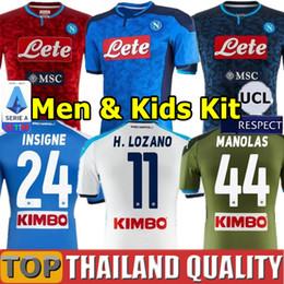 Camiseta de fútbol de nápoles online-2019 2020 Napoli camisetas de fútbol HAMSIK L.INSIGNE 19 20 Nápoles Camiseta de futbol MAGLIA MERTENS CALLEJON ALLAN VERDI MILIK Hombres kit para niños uniformes