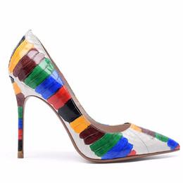Наряжать платья онлайн-Новые женщины рука рисунок змея супер металлические каблуки туфли на высоком каблуке насосы острым носом клуб свадьба офис леди стилет туфли 10.5 см