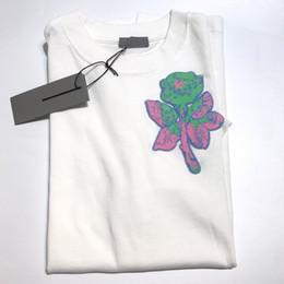 Tshirt cor-de-rosa on-line-Designer camisetas HFKYTX042 de luxo europeu camiseta Rose Bordados Logo Moda algodão de manga curta Casais Mulheres Homens