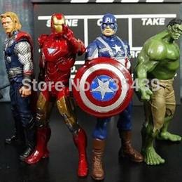 Heiße spielzeug kapitän amerika rächer online-Heiß! Neue 4 teile / satz 20 cm Avengers Super Heroes Captain America Thor Hulk Iron Man PVC Action Figure Modell Spielzeug Weihnachtsgeschenk Spielzeug
