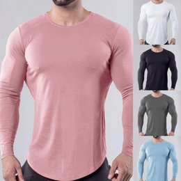 Músculo camisa homens magros on-line-Homens Ginásio Slim Fit Shirt O Long Neck Sleeve Muscle Tee Workout Tops T-shirt Blusa