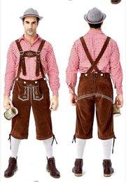 trajes de oktoberfest hombres Rebajas Vestuario para hombre de moda de la cerveza tirantes de la ropa del lujo 2019 Nueva alemán tradicional Oktoberfest ropa camisa de tela escocesa de los hombres