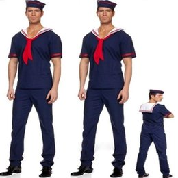 Costumi da marinaio maschile online-Adulti Costume Navy maschio Sailor Cosplay Costumi Halloween Party Fancy Dress Decoration