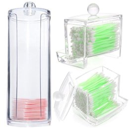 organizadores de maquiagem chinesa Desconto Cotton Pads Box Clear Plastic Cotton Pad Swab Holder Organizer Cosmetic Makeup Case Box