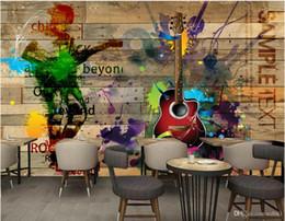 Canada 3d papier peint personnalisé photo murale rétro vintage rock musique planche de bois guitare peinture murale fond peintures murales de papier peint 3d paysage tapisserie murale 3d Offre