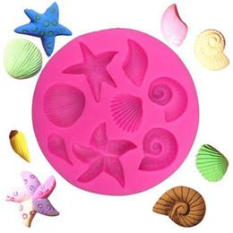 Estrella de mar online-Criaturas marinas concha estrella de mar shell flip cake molde de silicona DIY chocolate molde cocina líquido pastel