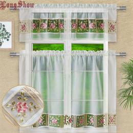 оптовая соломенная нить Скидка 1 Set 3 pcs Home Decorative White Color Creative Embroidered Organza Patchwork Kitchen Window Door Curtains