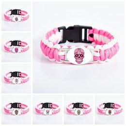 Mexikanischen charme armbänder online-Mexican Sugar Skull Armbänder für Frauen Glas Cabochon Blume Skeleton Charm Pink Wristband Fashion Day Of The Dead Schmuck Geschenk