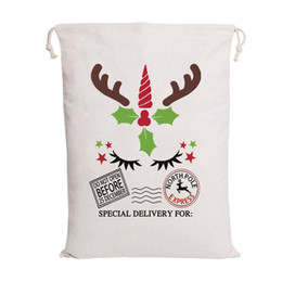 cartoons for decoration Promo Codes - Newest Christmas Santa Bags Santa Sack Drawstring Bag 6 Styles Canvas Candy Bags for kids gifts