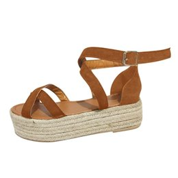 meninas cunhas da bomba Desconto Straw Sandals Mulheres senhoras Platform Wedge Bombas Sapatos mulher grossas inferior Shoes Lady menina Roman Sandals Sandalia Feminina 35-43