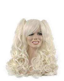 Canada Femmes Long Argent Blanc Double Double Ponytails Oblique Bangs Cheveux Bouclés Kanekalon Résistant À La Chaleur Cosplay Partie Cheveux Plein Perruque Perruque Offre